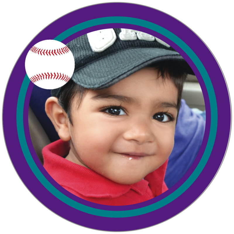 circle photo labels - teal & purple - baseball (set of 20)