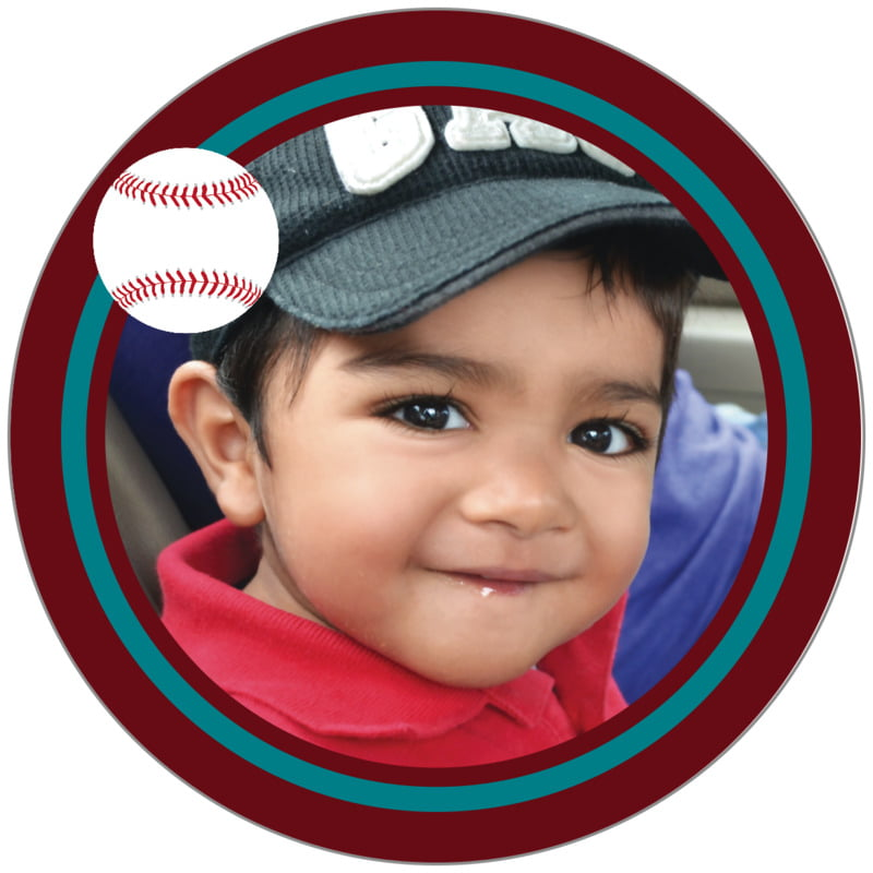 circle photo labels - teal & maroon - baseball (set of 20)