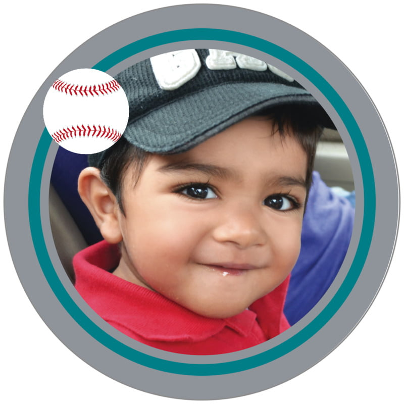 circle photo labels - teal & silver - baseball (set of 20)