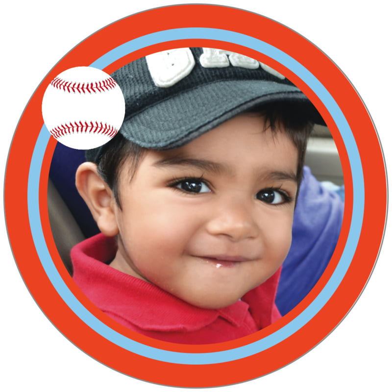 circle photo labels - light blue & orange - baseball (set of 20)