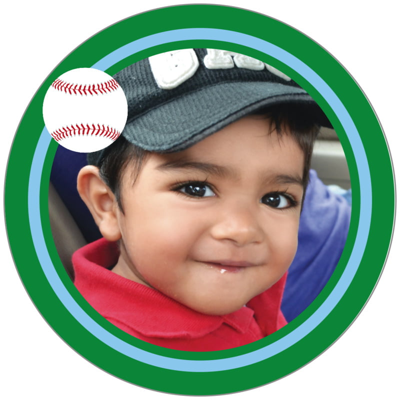 circle photo labels - light blue & green - baseball (set of 20)