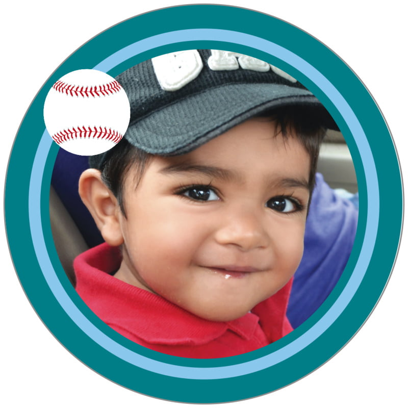 circle photo labels - light blue & teal - baseball (set of 20)