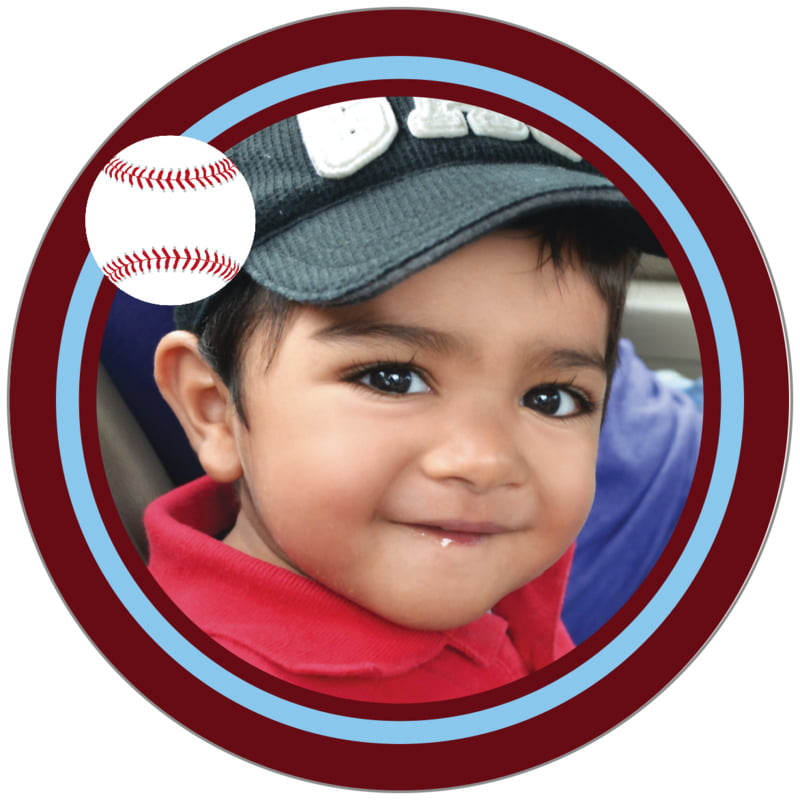 circle photo labels - light blue & maroon - baseball (set of 20)