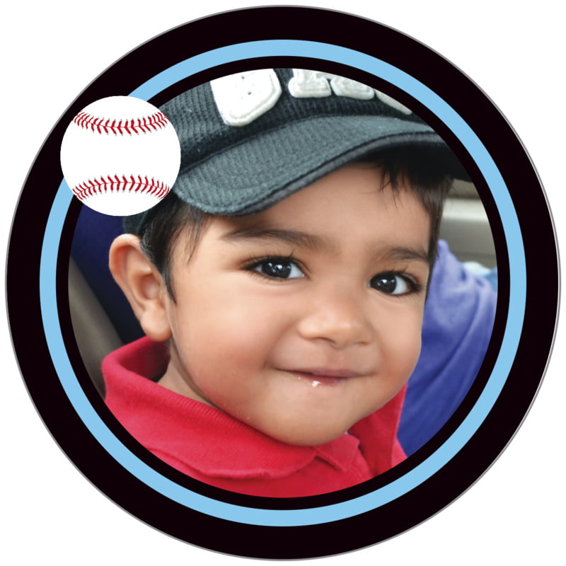 circle photo labels - light blue & black - baseball (set of 20)