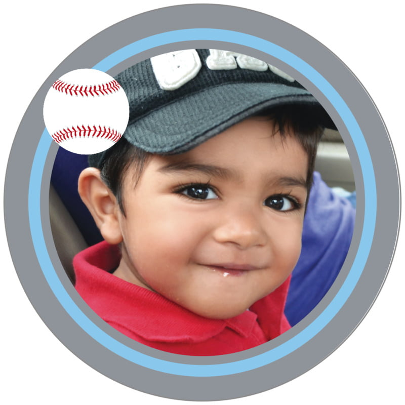 circle photo labels - light blue & silver - baseball (set of 20)