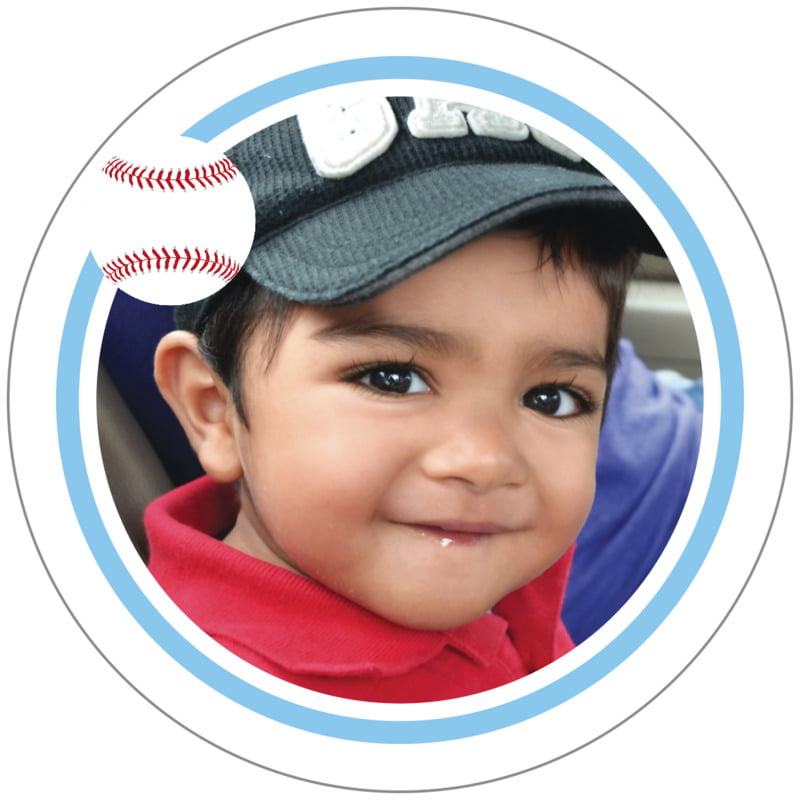circle photo labels - light blue & white - baseball (set of 20)