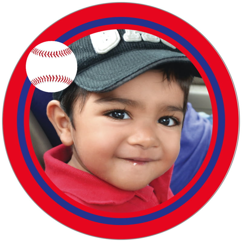 circle photo labels - royal & red - baseball (set of 20)