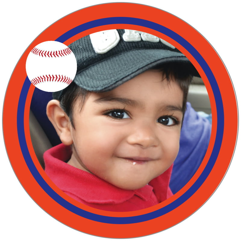 circle photo labels - royal & orange - baseball (set of 20)