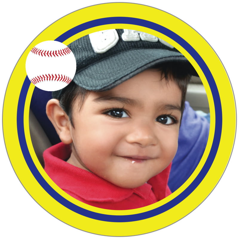 circle photo labels - royal & yellow - baseball (set of 20)
