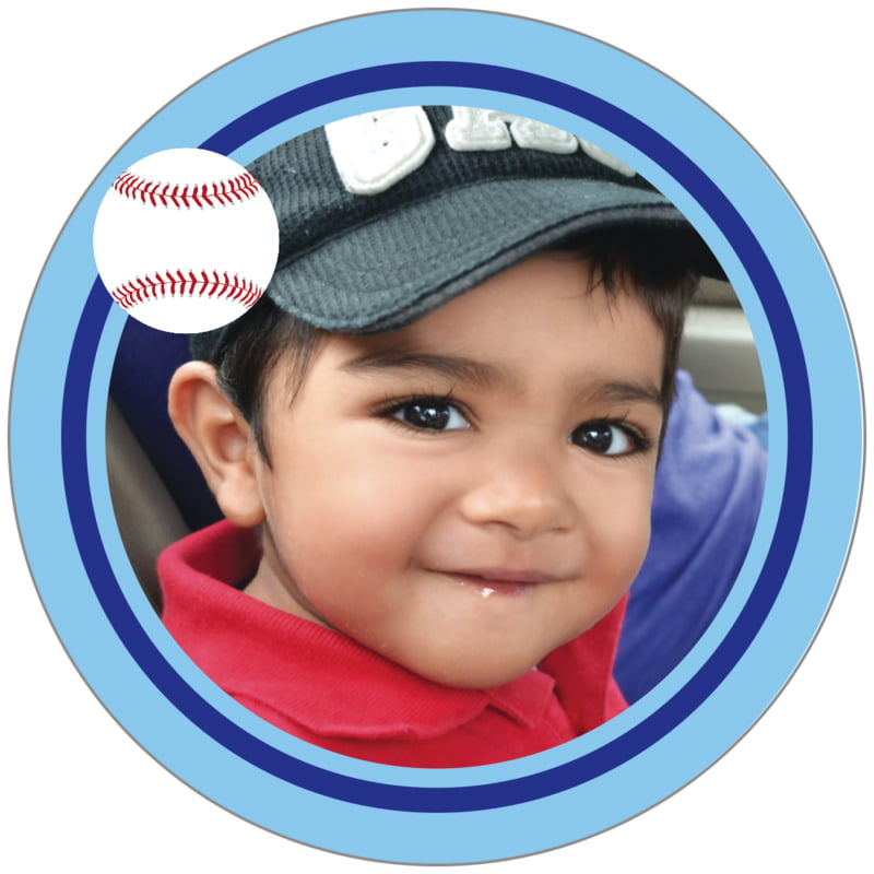 circle photo labels - royal & light blue - baseball (set of 20)