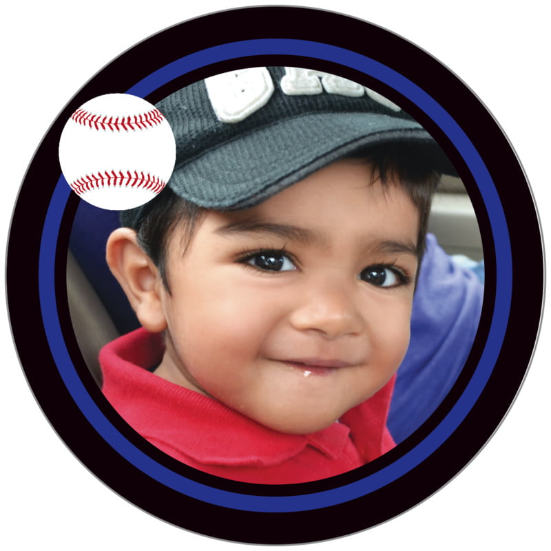 circle photo labels - royal & black - baseball (set of 20)