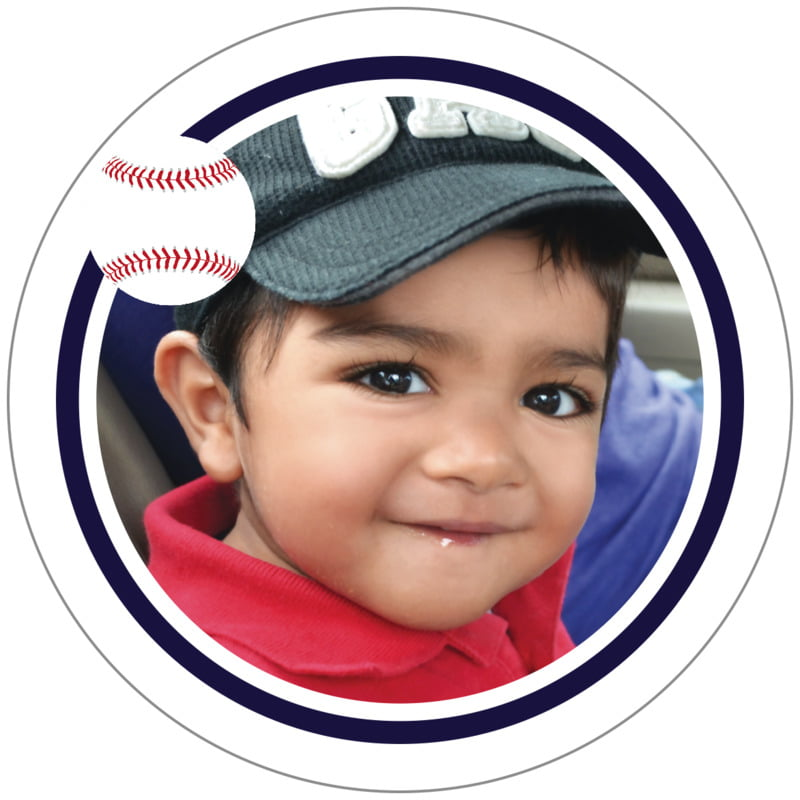 circle photo labels - navy & white - baseball (set of 20)