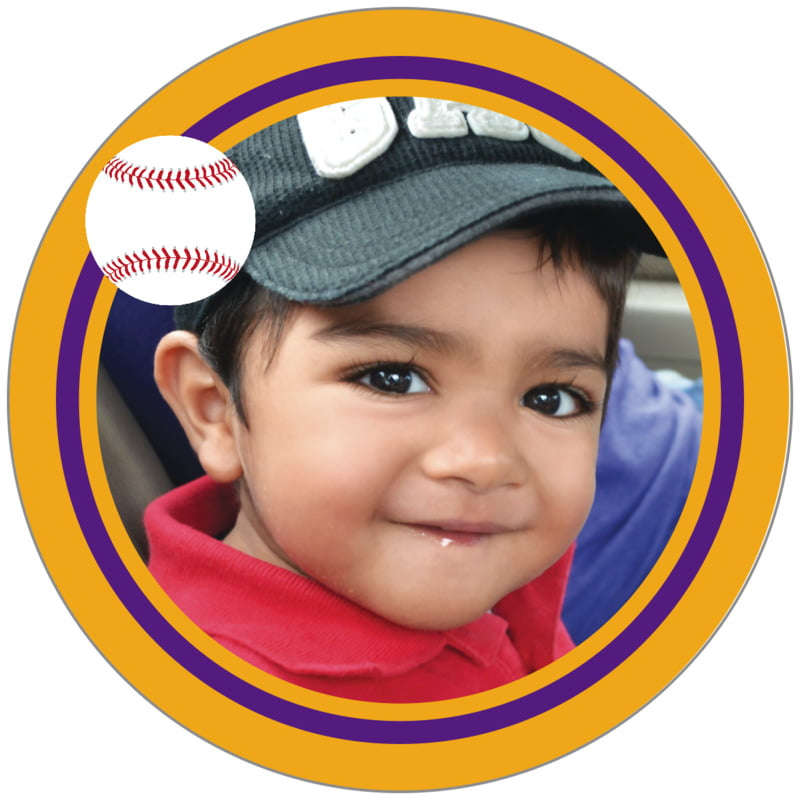 circle photo labels - purple & gold - baseball (set of 20)