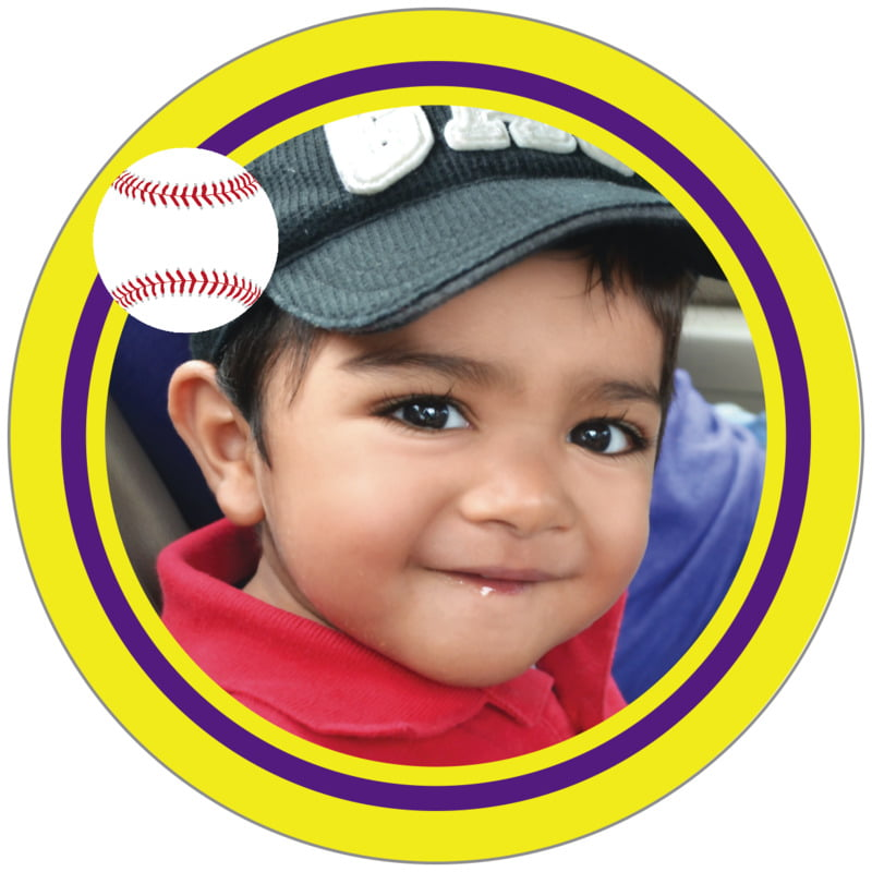 circle photo labels - purple & yellow - baseball (set of 20)