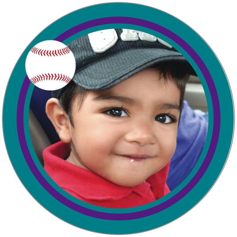 circle photo labels - purple & teal - baseball (set of 20)