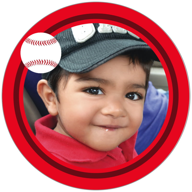 circle photo labels - maroon & red - baseball (set of 20)