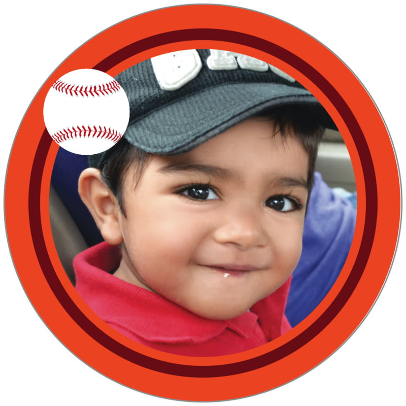 circle photo labels - maroon & orange - baseball (set of 20)