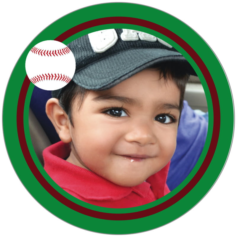 circle photo labels - maroon & green - baseball (set of 20)