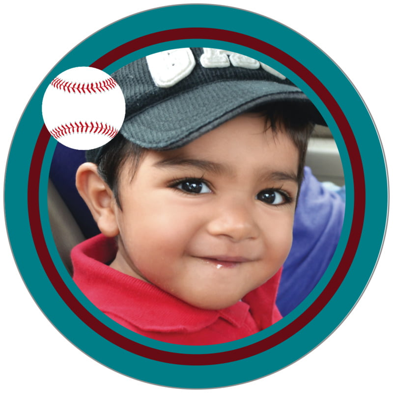 circle photo labels - maroon & teal - baseball (set of 20)