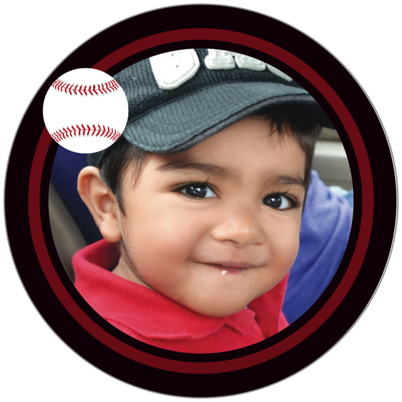 circle photo labels - maroon & black - baseball (set of 20)