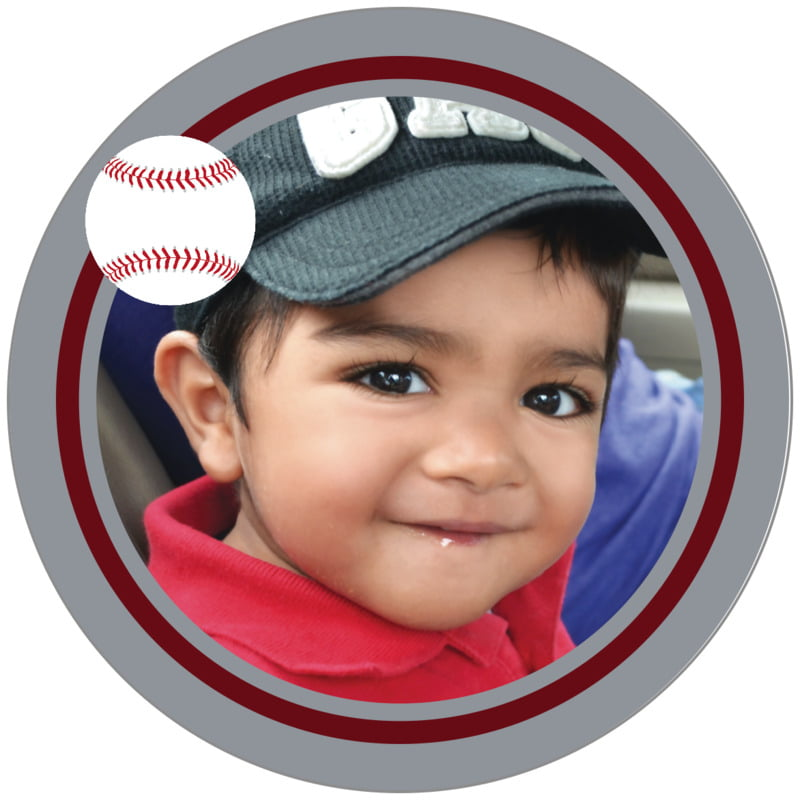 circle photo labels - maroon & silver - baseball (set of 20)