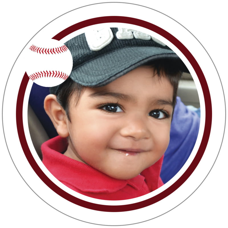 circle photo labels - maroon & white - baseball (set of 20)