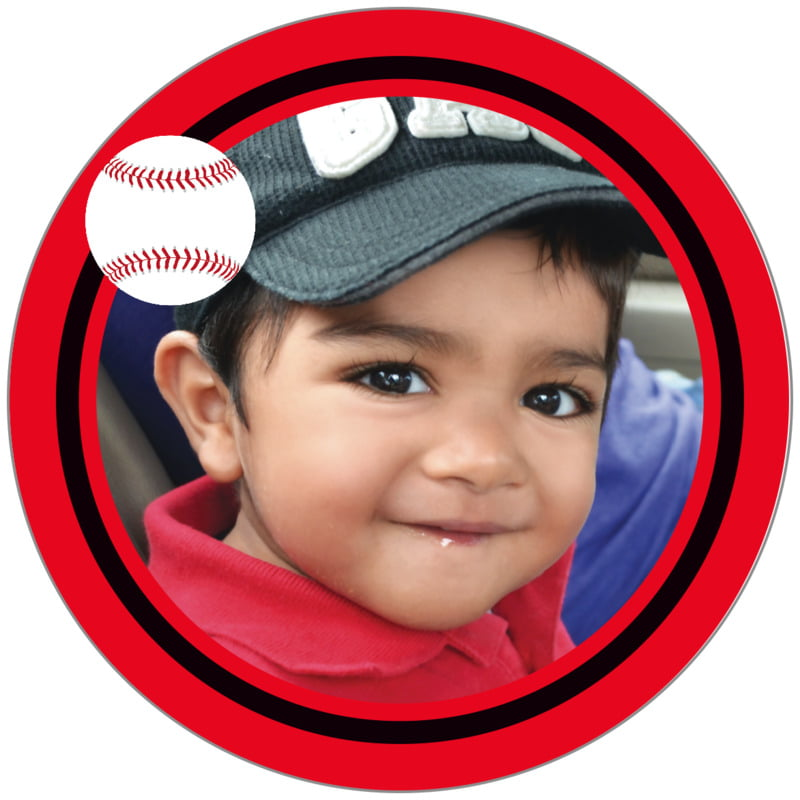 circle photo labels - black & red - baseball (set of 20)