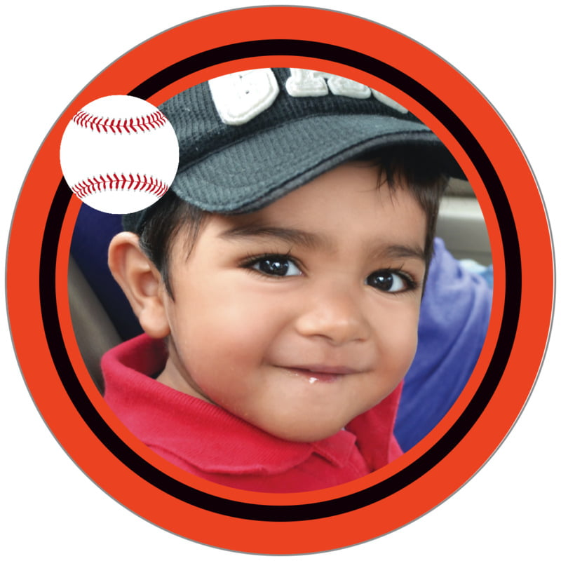 circle photo labels - black & orange - baseball (set of 20)