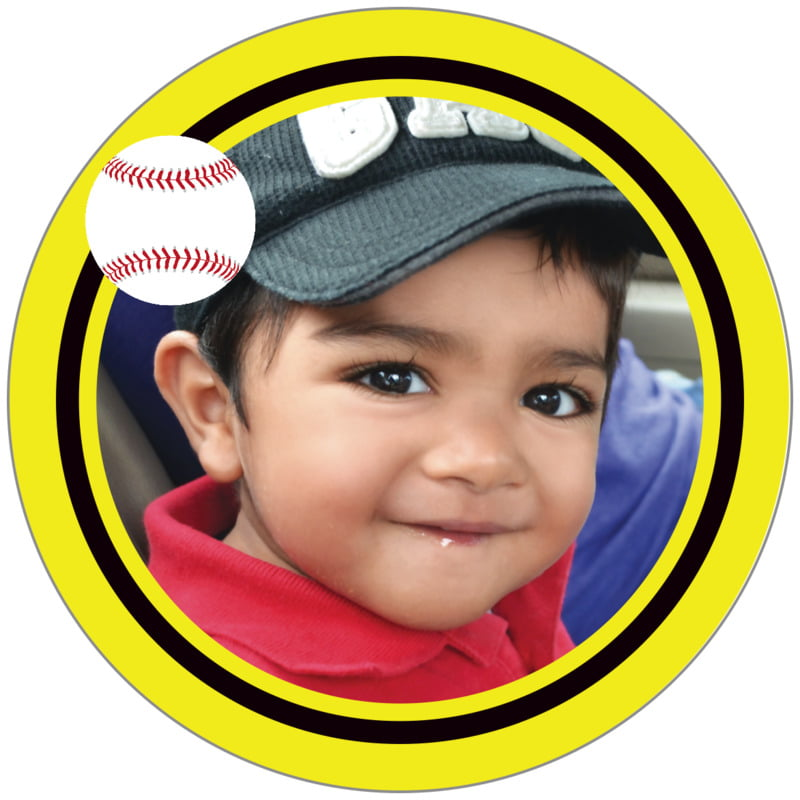 circle photo labels - black & yellow - baseball (set of 20)