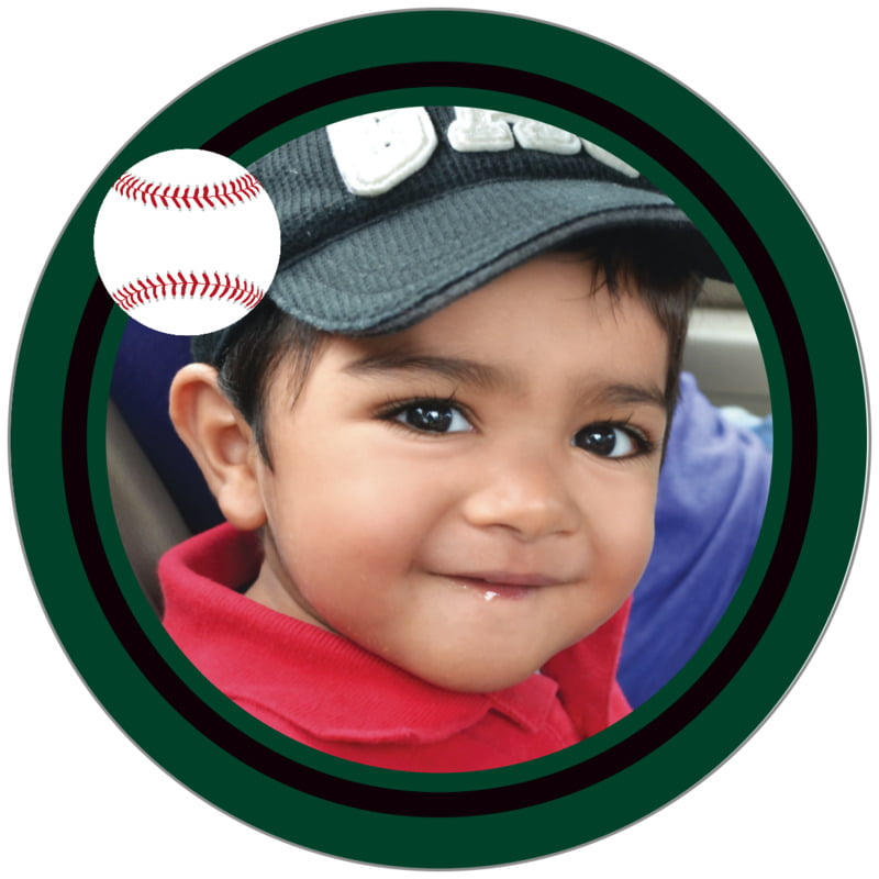 circle photo labels - black & forest - baseball (set of 20)