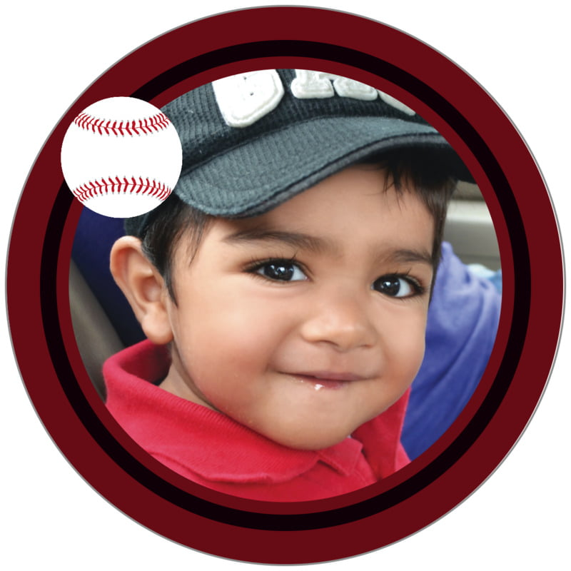 circle photo labels - black & maroon - baseball (set of 20)