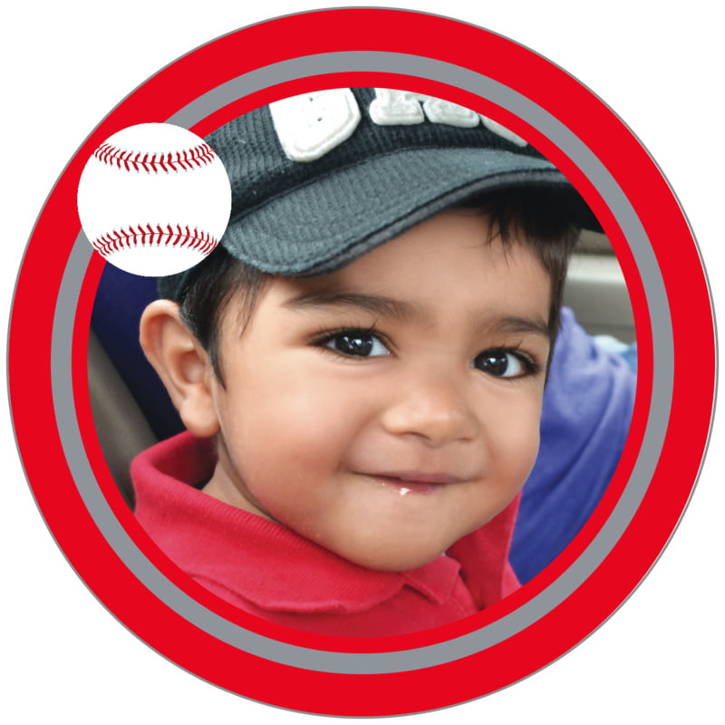 circle photo labels - silver & red - baseball (set of 20)