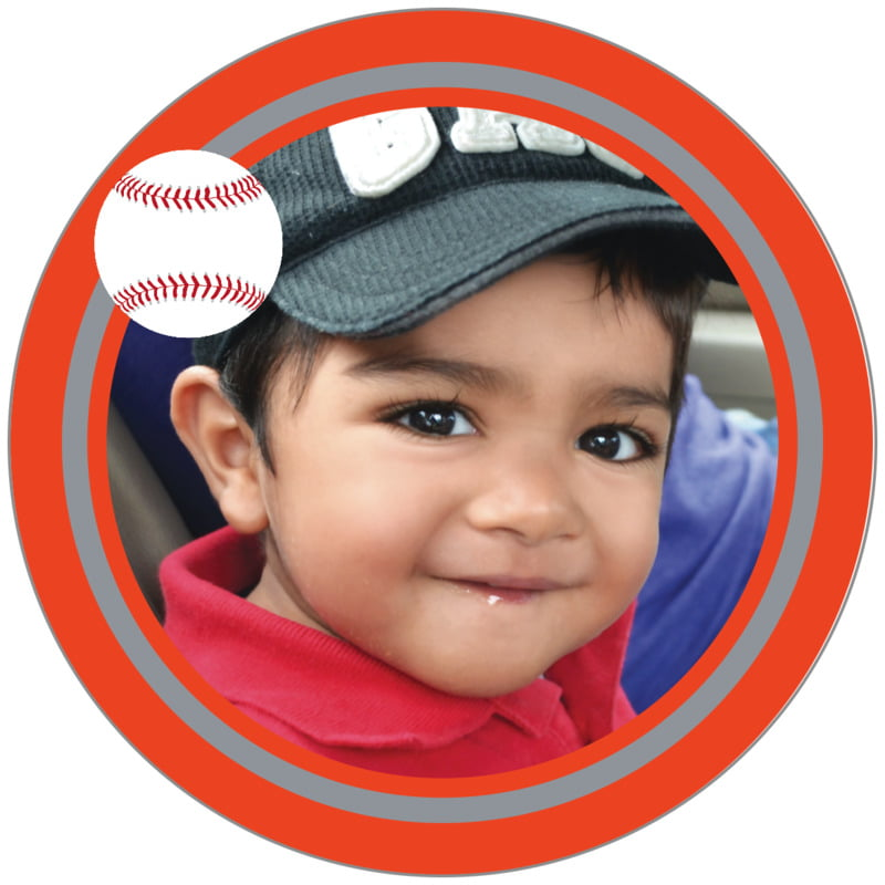 circle photo labels - silver & orange - baseball (set of 20)