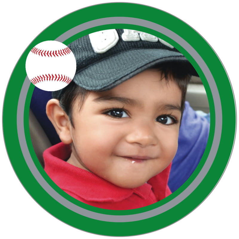 circle photo labels - silver & green - baseball (set of 20)