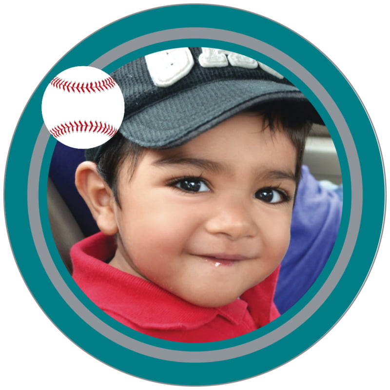 circle photo labels - silver & teal - baseball (set of 20)