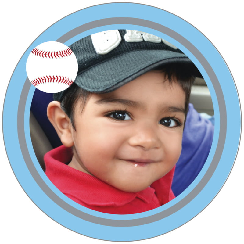 circle photo labels - silver & light blue - baseball (set of 20)