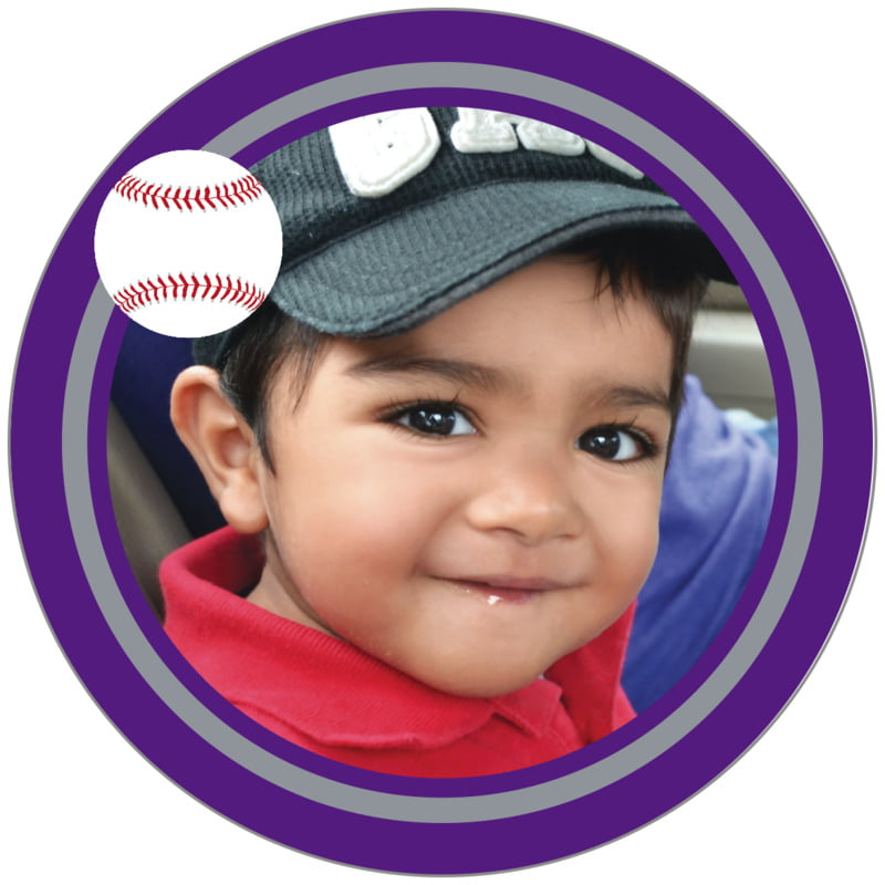 circle photo labels - silver & purple - baseball (set of 20)