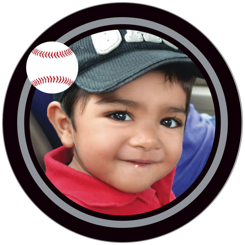 circle photo labels - silver & black - baseball (set of 20)