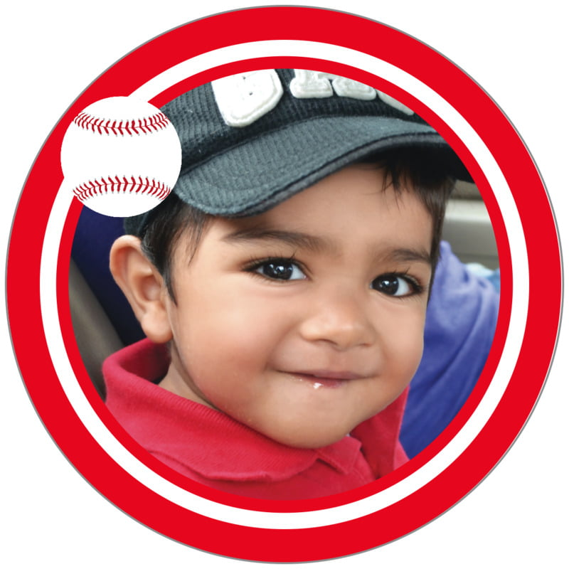 circle photo labels - white & red - baseball (set of 20)