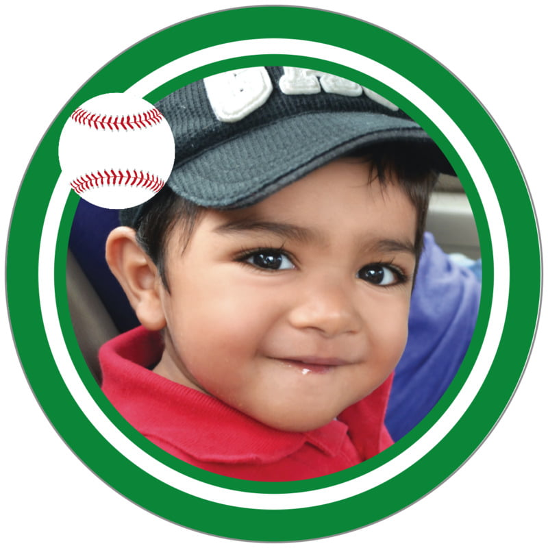 circle photo labels - white & green - baseball (set of 20)