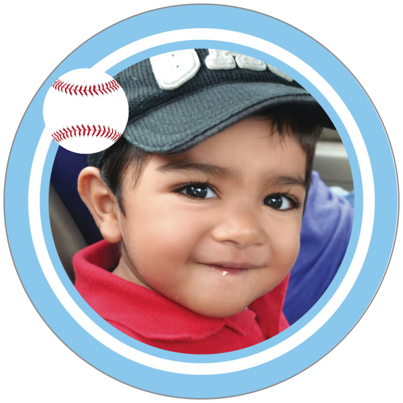 circle photo labels - white & light blue - baseball (set of 20)