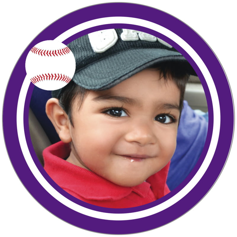 circle photo labels - white & purple - baseball (set of 20)