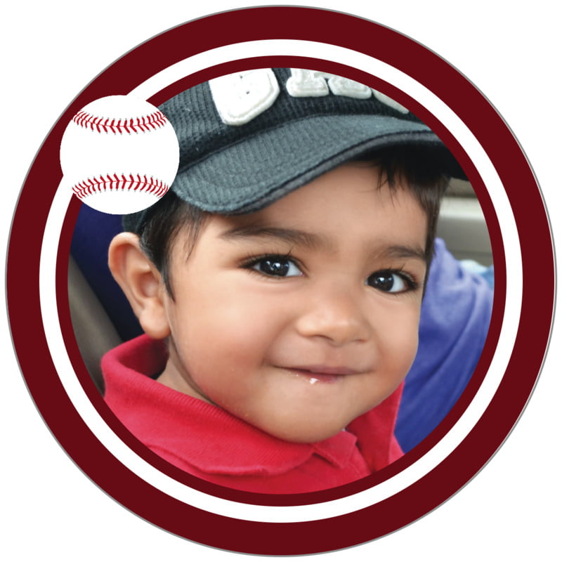 circle photo labels - white & maroon - baseball (set of 20)
