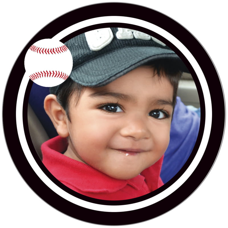 circle photo labels - white & black - baseball (set of 20)