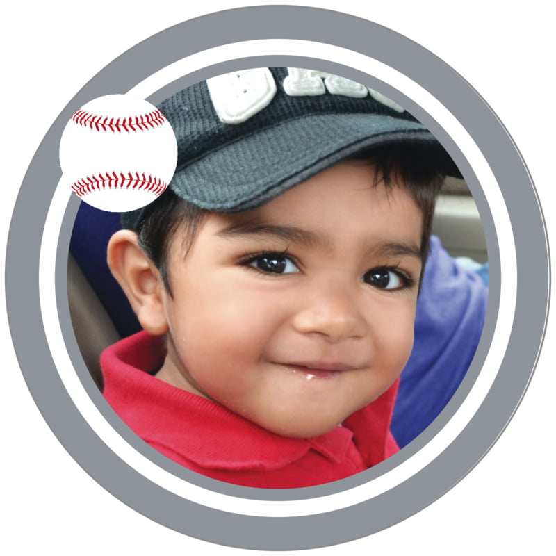 circle photo labels - white & silver - baseball (set of 20)