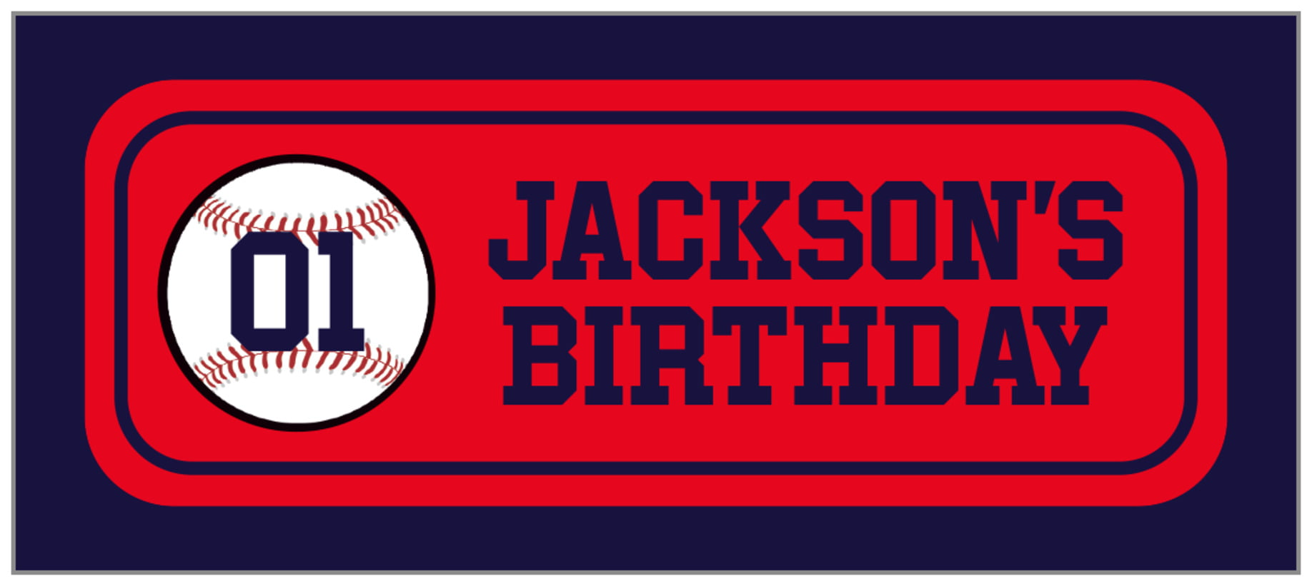 small rectangle food/craft labels - red & navy - baseball (set of 24)