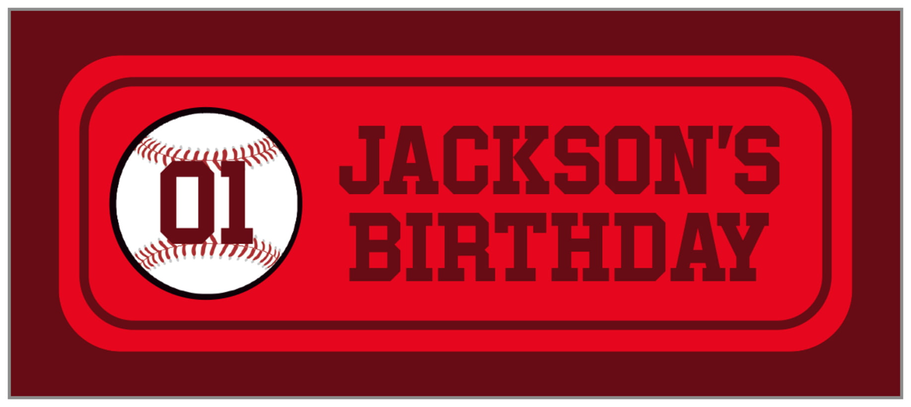 small rectangle food/craft labels - red & maroon - baseball (set of 24)