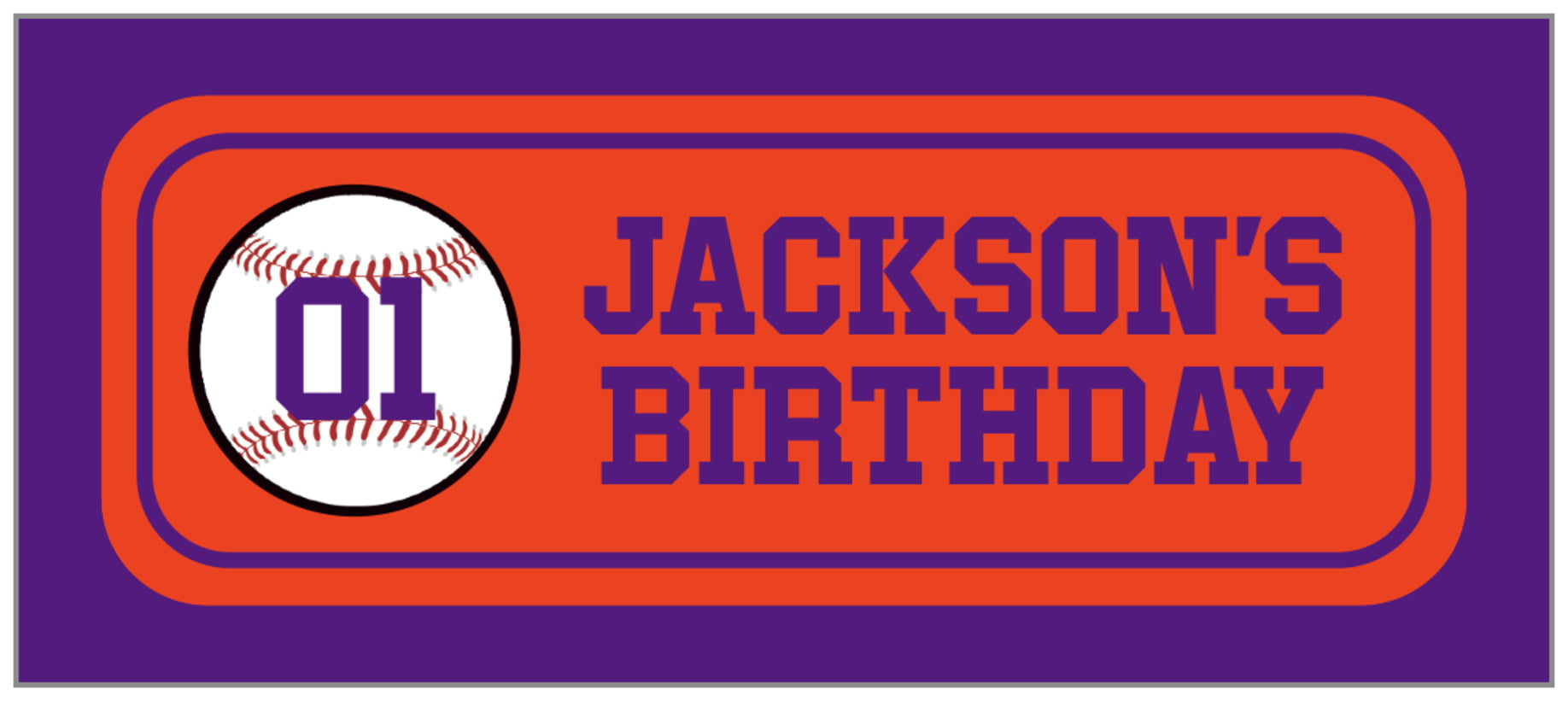 small rectangle food/craft labels - orange & purple - baseball (set of 24)