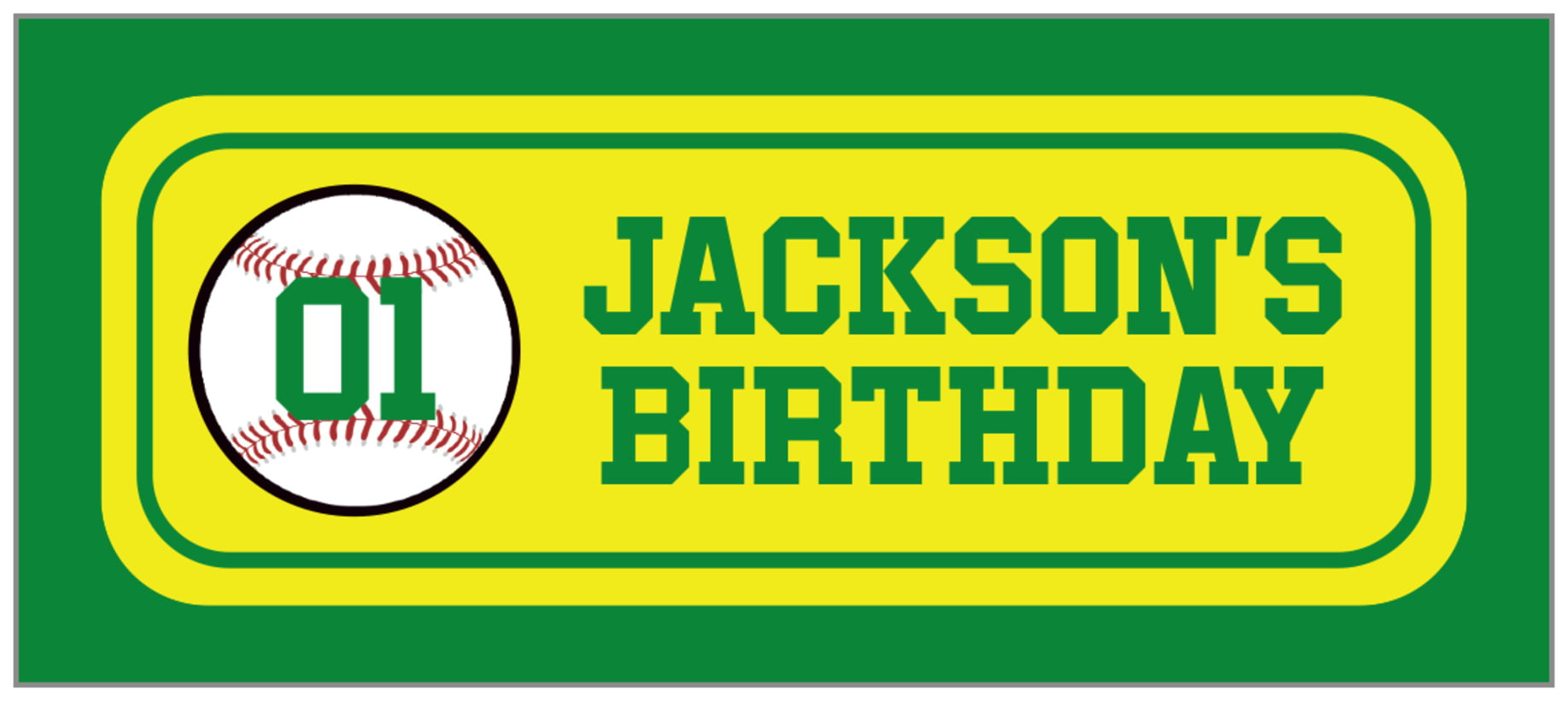 small rectangle food/craft labels - yellow & green - baseball (set of 24)