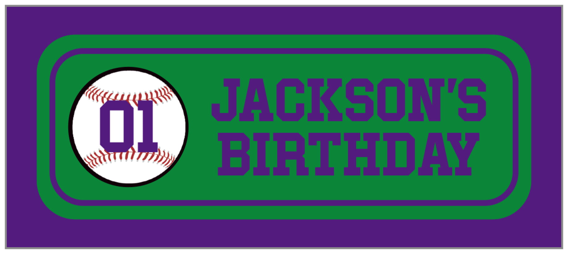 small rectangle food/craft labels - green & purple - baseball (set of 24)